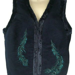 D & Co Denim & Company Peacock Vest 2X Blue Fur